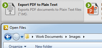 <Strong> Exportera PDF-filer </strong> <br> <br>> Exportera sidor från PDF-filer till bildfiler, vanlig text (<strong> *. Txt </strong>) format, MS Powerpoint Presentation (<strong> * .pptx </strong>) format eller MS Word (<strong> *. Docx </strong>) format.
